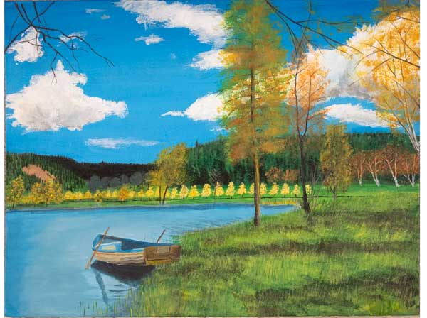 painting of a lake